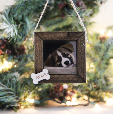 Pet Photo Ornament, Personalized Christmas Ornament, Wood Framed Ornament, Rustic Photo Ornament