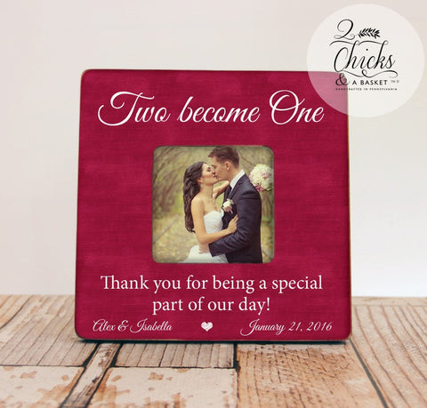 Two Become One Picture Frame, Wedding Thank You Picture Frame, Thank You Wedding Party Gift