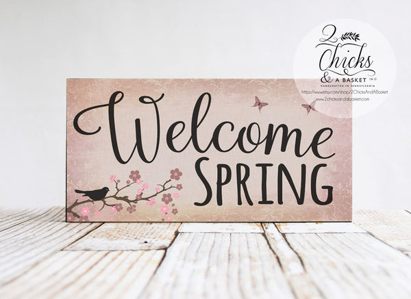 Welcome Spring Primitive Sign, Spring Sign, Primitive Spring Wall Decor