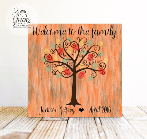 Baby Shower Fingerprint Tree Sign, Guest Book Alternative, Welcome To The Family