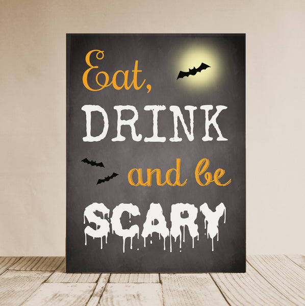 Eat Drink And Be Scary Sign, Halloween Wall Decor, Cute Halloween Decoration