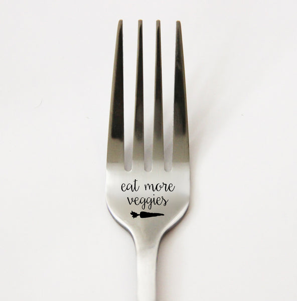 Eat More Veggies Fork, Personalized Fork, Vegetable Fork, Engraved Silverware