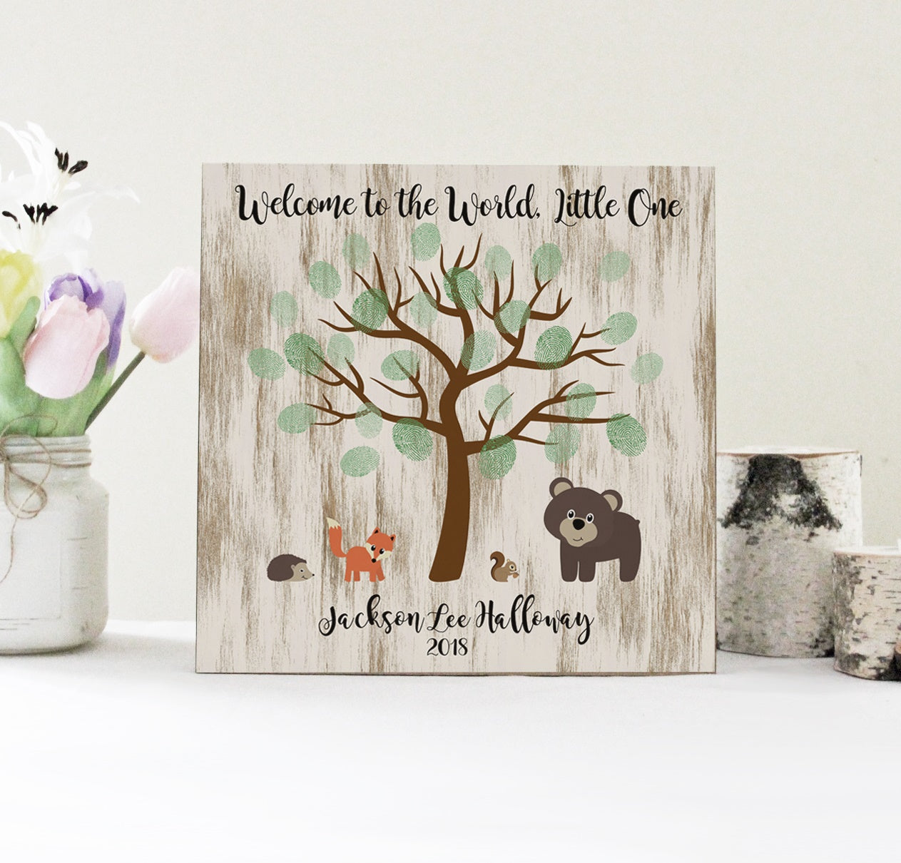 Baby Shower Fingerprint Tree Sign Welcome To The World Little One