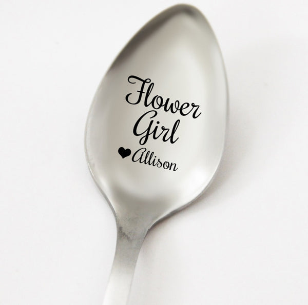 Flower Girl Personalized Spoon, Flowe Girl Gift Idea, Wedding Party Gift, Custom Wedding Silverware