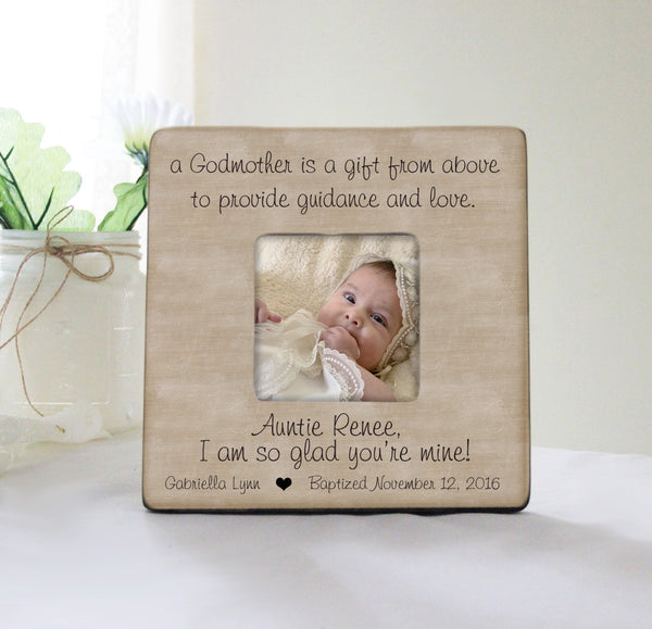 A Godmother Is A Gift From Above Picture Frame, Personalized Baptism Frame, Godparent Gift Idea