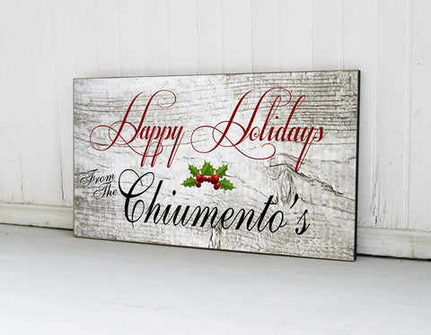 Personalized Family Name Holiday Sign, Christmas Sign, Custom Family Name Sign, Family Christmas Decor