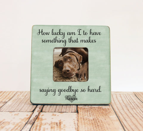 How Lucky Am I Pet Memory Picture Frame, Personalized Pet Picture Frame, Loss of a Pet Gift, Pet Memory Frame