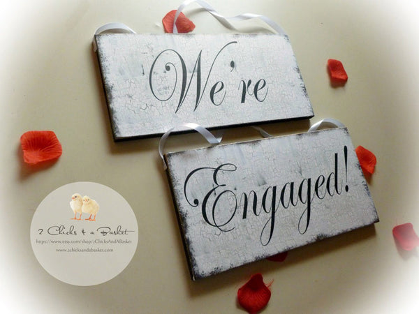 We're Engaged Set, Engagement Photo Props, Wedding Signs