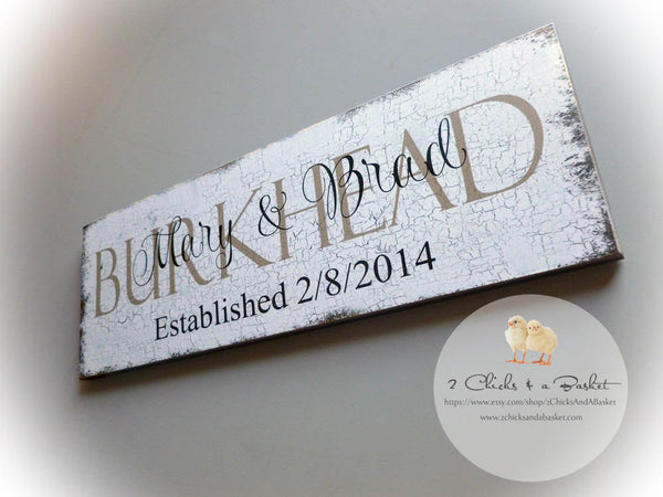 Custom Family Name Sign, Personalized Wood Plaque, Crackled Style Sign