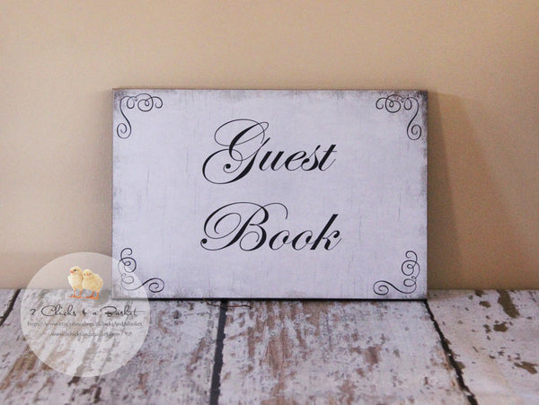 Guest Book Sign, Wedding Sign, Shabby Chic Wedding