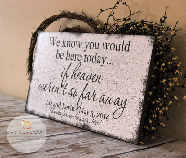 We Know You Would Be Here Today If Heaven Weren't So Far Away Custom Sign, Custom Wedding Decor