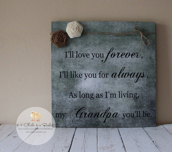 Father's Day Sign, Gift For Dad, Gift For Grandpa, Handcrafted Sign, I'll Love You Forever I'll Like You For Always...