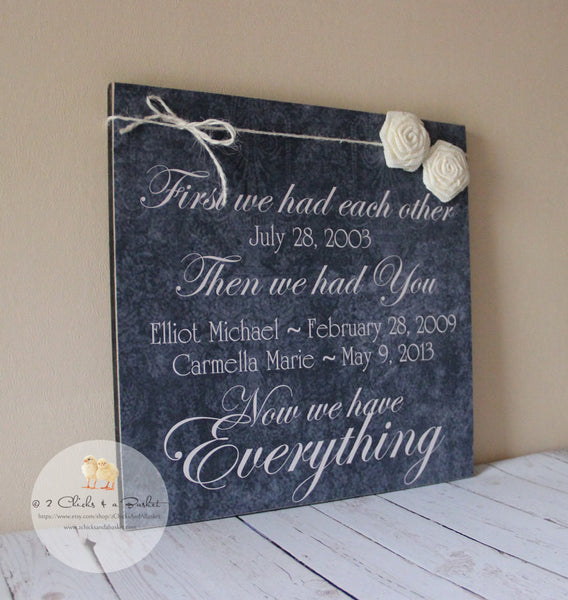 First We Had Each Other Custom Date Sign, Personalized Family Sign, Handcrafted Sign with Burlap Flowers