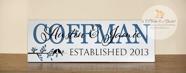Family Name Sign, Established Sign, Personalized Name Plaque, Great Anniversary Gift