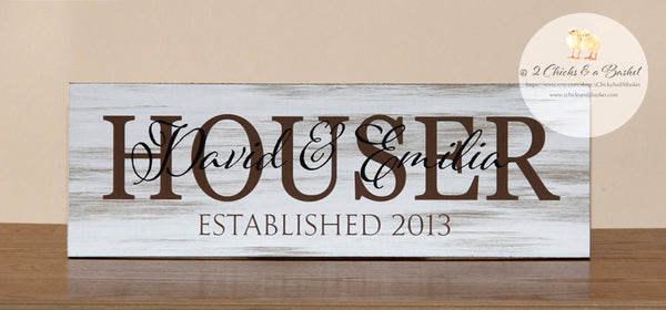 Family Name Sign, Established Sign, Personalized Name Plaque, Great Wedding Gift