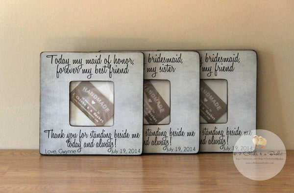 Custom Wedding Picture Frames (Set of 3), Maid of Honor - Sister - Friend Rustic Picture Frames, Personalized Wedding Frames