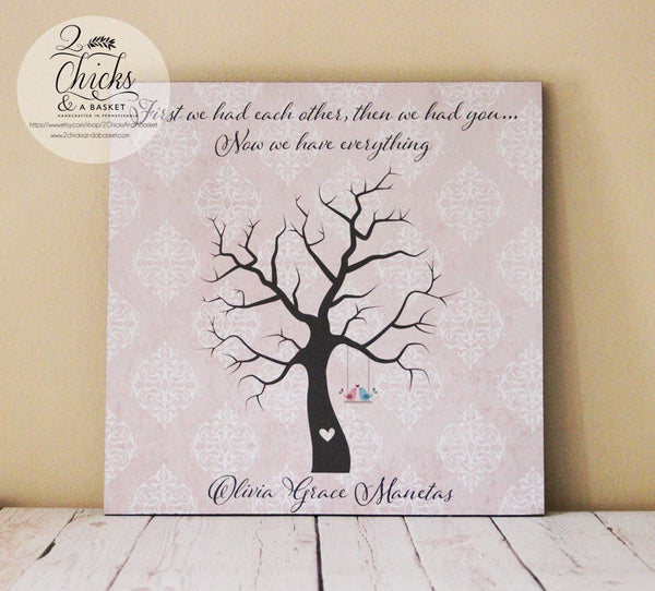 Baby Shower Fingerprint Tree Sign, Guest Book Alternative, First We Had Each Other Then We Had You...