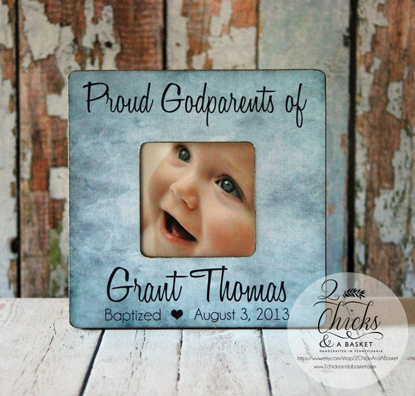 Proud Godparents Personalized Picture Frame, Personalized Baptism Frame, Godparent Gift Idea