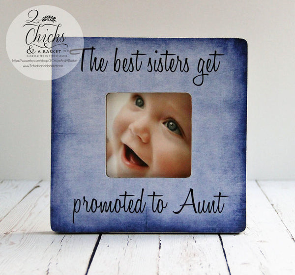 The Best Sisters Get Promoted To Aunt (Purple) Personalized Picture Frame, Auntie Gift, Aunt Picture Frame
