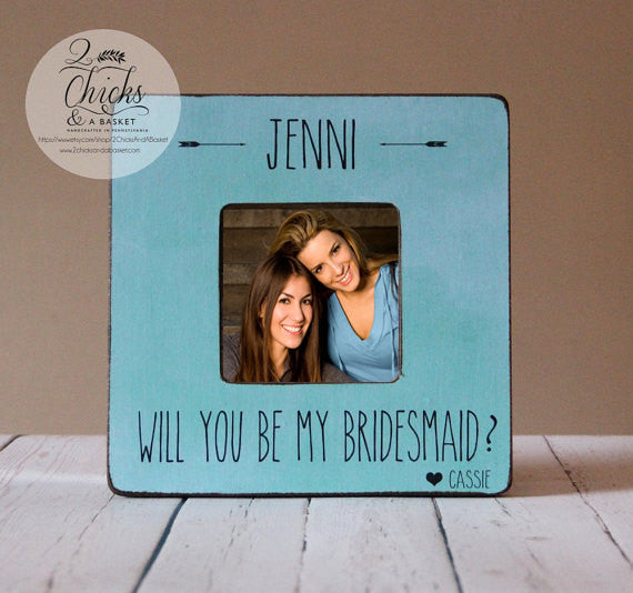 Will You Be My Bridesmaid Picture Frame, Personalized Bridesmaid Picture Frame, Personalized Wedding Party Frame, Boho Chic Wedding