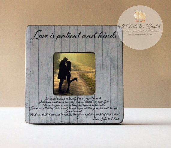 Love Is Patient Love Is Kind Picture Frame, Rustic Picture Frame, Personalized Wedding Picture Frame