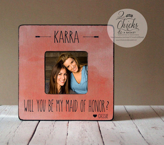 Will You Be My Maid of Honor Picture Frame, Personalized Bridesmaid Picture Frame, Personalized Wedding Party Frame, Boho Chic Wedding