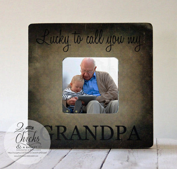 Lucky To Call You My Grandpa Personalized Picture Frame, Grandpa Gift, New Grandparent Picture Frame