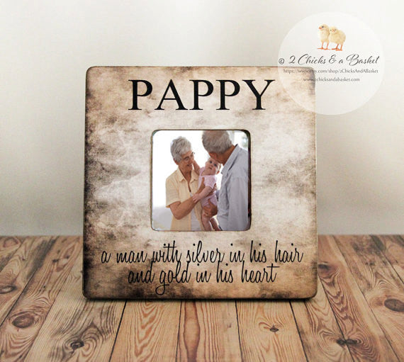 Custom Pappy Picture Frame, Rustic Frame, Fathers Day Gift, Personalized Frame for Dad or Grandpa