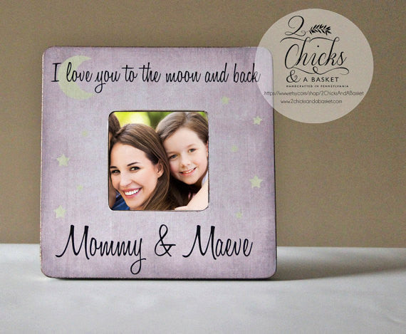 i love you to the moon back personalized picture frame baby shower gift nursery picture frame