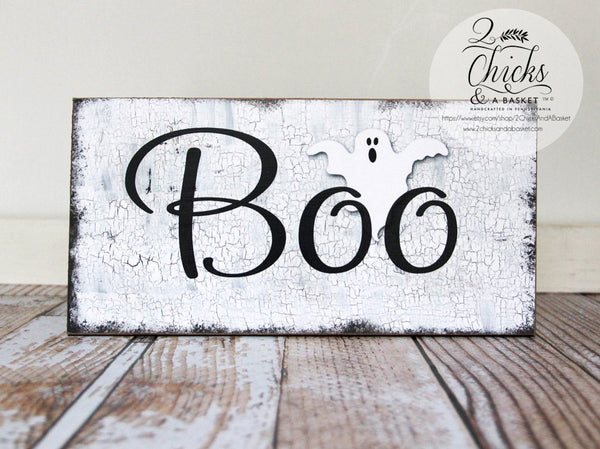Boo Halloween Sign, Primitive Halloween Wall Decor, Ghost Sign
