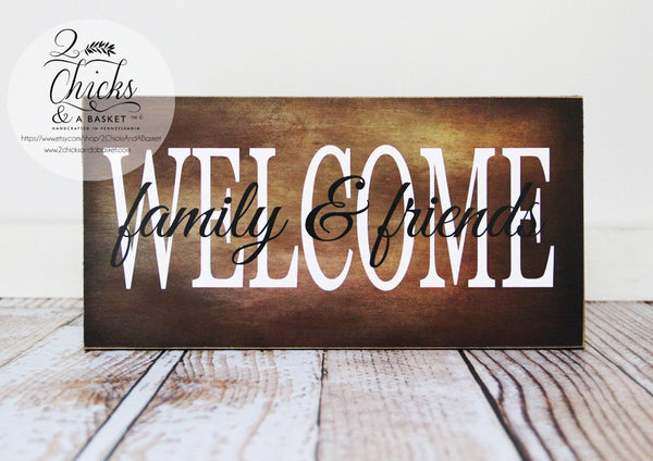Welcome Family And Friends Sign, Autumn Style Wall Decor, Fall Wall Sign