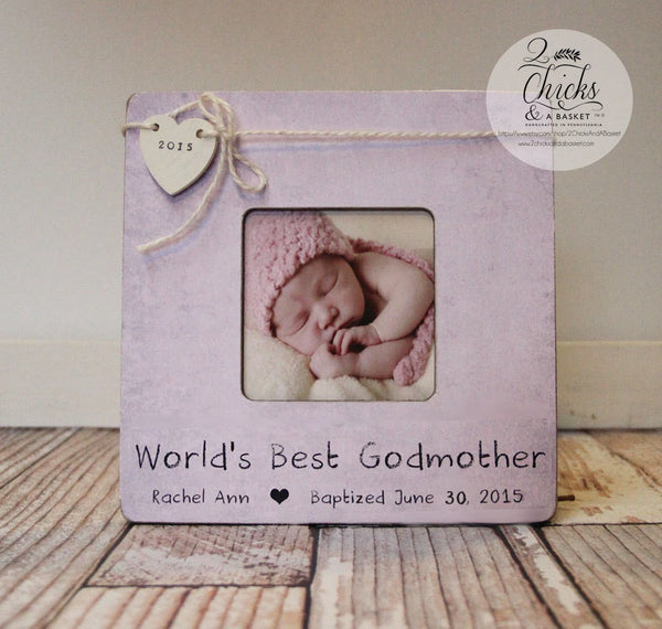 Godmother Picture Frame, Baptism Picture Frame, World's Best Godmother Frame, Personalized Baptism Picture Frame