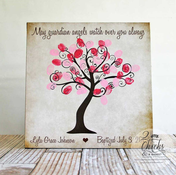 Baptism Fingerprint Tree Sign, Baptism Or Christening Guest Book Alternative, May Guardian Angels Watch Over You Always