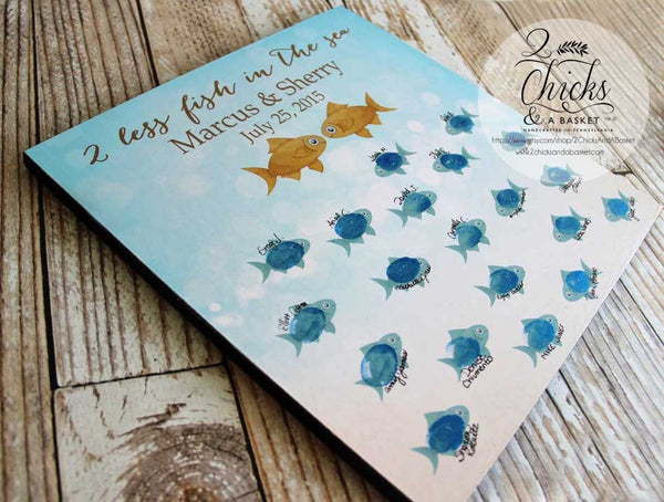 Beach Wedding Guest Book Sign, Guest Book Alternative, Wedding Guest Book, Two Less Fish In The Sea