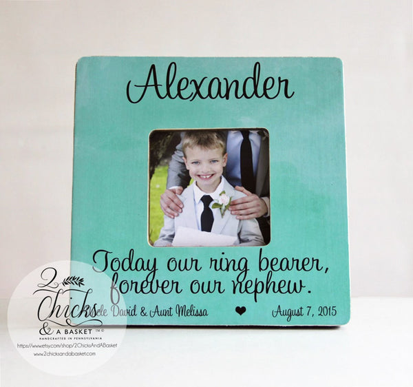 Today Our Ring Bearer Forever Our Nephew Picture Frame, Personalized Ring Bearer Picture Frame, Personalized Wedding Gift