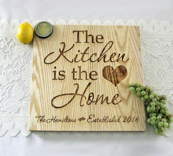 The Kitchen Is The Heart Of The Home Cutting Board, Personalized Engraved Cutting Board, Personalized Wedding Gift