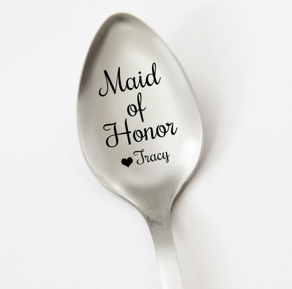 Maid of Honor Personalized Spoon, Maid of Honor Gift Idea, Wedding Party Gift, Custom Wedding Silverware