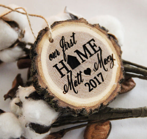 Our First Home Christmas Ornament, Engraved Wood Slice Ornament, Newlywed Christmas Ornament, First Christmas Ornament