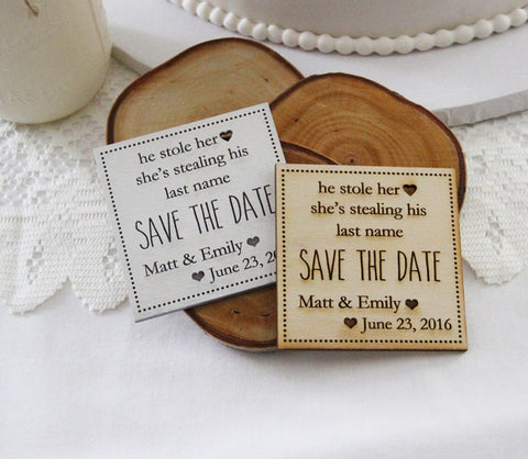 Wood Save the Date Magnet, Wedding Announcement, Wood Save the Date, Rustic Wedding Announcement, He Stole Her Heart