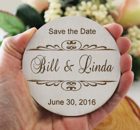 Save the Date Magnet, Wedding Announcement, Round Wood Save the Date, Rustic Wedding Announcement