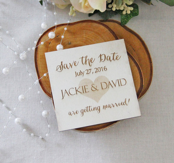 Save the Date Magnet, Wedding Announcement, Wood Save the Date, Rustic Wedding Announcement