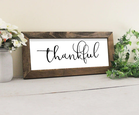 Thankful Sign, Wood Framed Wall Sign, Fixer Upper Inspired, Framed Wood Sign, Thankful Wall Decor
