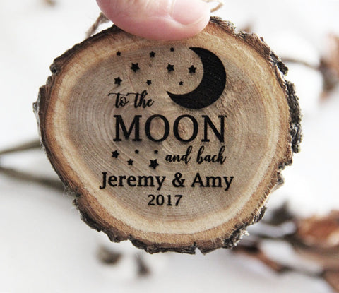 Personalized Christmas Ornament, Engraved Wood Slice Ornament, Couple Christmas Ornament, To The Moon And Back