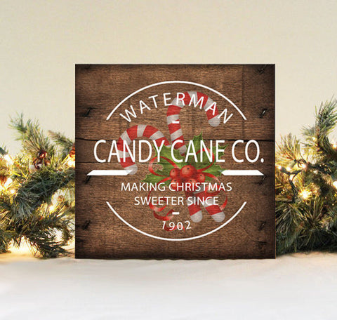 Candy Cane Company Sign, Family Name Christmas Decor, Rustic Family Christmas, Personalized Christmas Sign, Family Name Candy Cane Sign