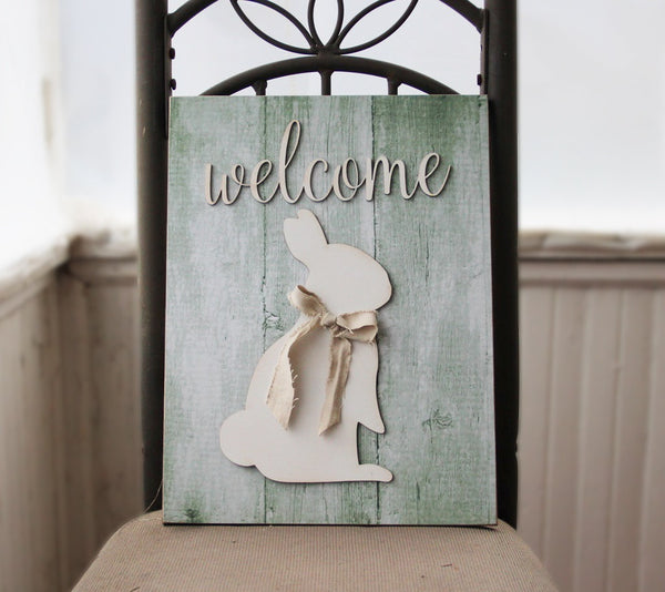 Welcome Easter Sign, Welcome Bunny Wall Sign, Primitive Easter, Bunny with Burlap Sign