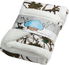 Plush Coral Fleece Camo Baby Blanket