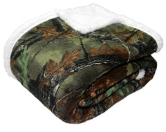 Plush Coral Fleece Camo Double Layer Blanket