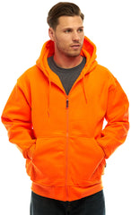 Men's Blaze Orange Double Fleece Full Zip Hoodie
