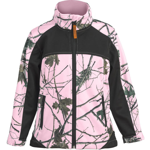 Kids Pink Forest Camo Custom Xrg Soft Shell Jacket - Trailcrest.com