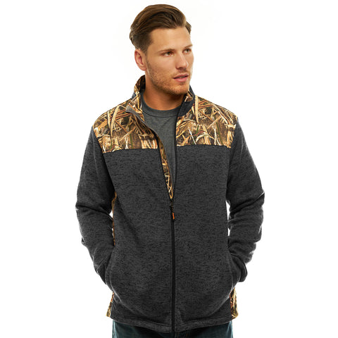 Men's Mossy Oak Signature Sweater Fleece Full Zip Jacket - Trailcrest.com